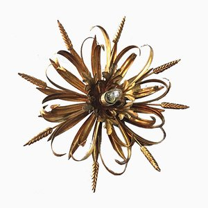 Gilt Wheat Sheaf Flush Light, 1970s