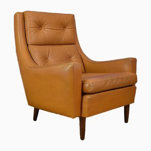 Danish Tan Leather Highback Lounge Chair, 1970s