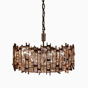 Gold Plated Crystal & Glass Chandelier from Palwa, 1960s