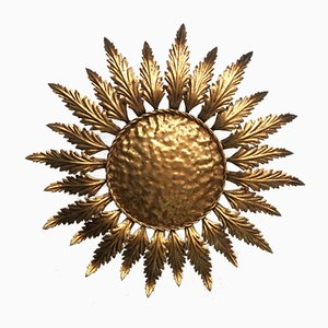 Spanish Gilt Metal Sunflower Ceiling Light, 1950s