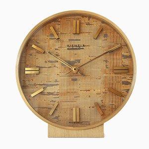 Reloj de mesa de corcho y latón de Kienzle International, años 70