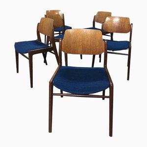 Deutsche Mid-Century Esszimmerstühle von Hartmut Lohmeyer für Wilkhahn, 1960er, 6er Set
