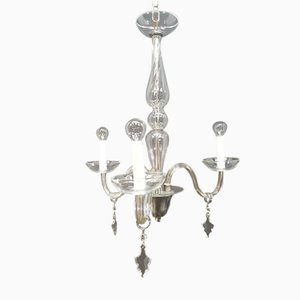 Lampadario vintage in cristallo a tre braccia