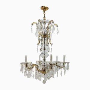 Antique 6-Arm Crystal Chandelier