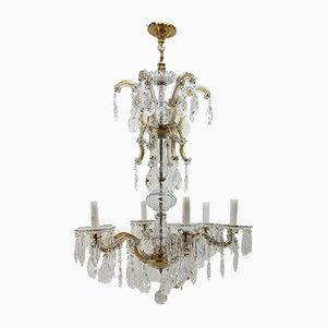 Lámpara de araña antigua de cristal con seis brazos