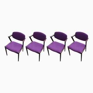 Model 42 Rosewood Chairs by Kai Kristiansen for Schou Andersen, 1960s, Set of 6