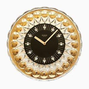 Orologio da parete vintage placcato in oro a 24 carati di Uhrenfabrik Junghans