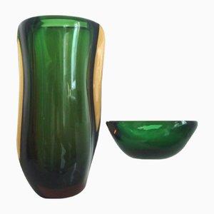 Jarrón checo de vidrio artístico de Stahlikavo y cuenco de cristal de Murano de Alessandro Mandruzzato, años 50