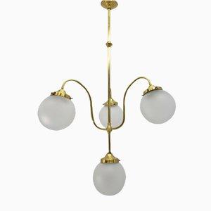 Lampada modernista con quattro sfere in cristallo