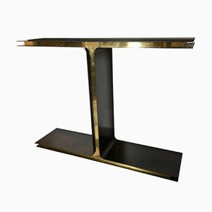 Italian T Console Table in Iron & Brass by Giacomo Cuccoli