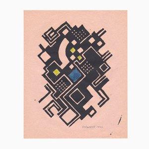 Gouache Konstruktivistische Konstruktion & Gravure sur Bois par Max Olderock pour Panderma, 1966