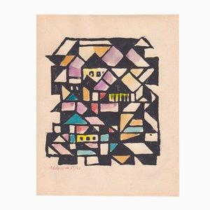 Konstruktivistische Konstruktion Holzschnitt mit Gouache von Max Olderock für Panderma, 1966