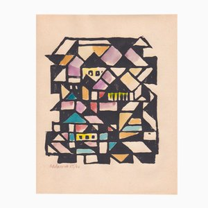 Xylographie avec Gouache Konstruktivistische Konstruktion par Max Olderock pour Panderma, 1966