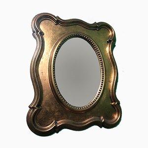 Espejo antiguo dorado, década de 1900