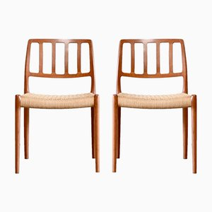 Chaises de Salle à Manger Modèle 83 en Teck et Jonc par N. O. Møller pour J. L. Møllers, Set de 2