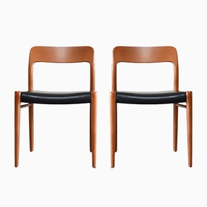 Vintage Teak & Leather Model 75 Chairs by Niels Møller for J.L. Møllers, Set of 2