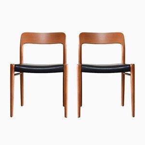 Vintage Teak & Leder Modell 75 Stühle von Niels Møller für J.L. Møllers, 2er Set