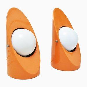 Orangefarbene Space Age Tischlampen, 1960er, 2er Set