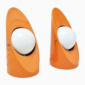 Space Age Orange Table Lamps, 1960s, Set of 2