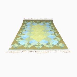 Großer Mid-Century Rölakan Teppich mit geometrischen Mustern in Grün & Blau, 1960er