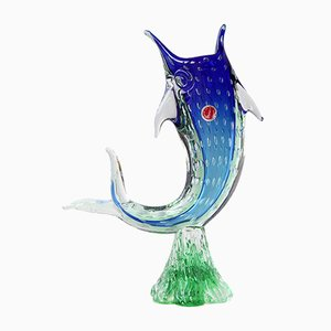 Sculptural Marlin Fish Vase in Blue & Green Murano Glass, 1970s