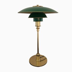 Mid-Century Gold & Green Table Lamp by Poul Henningsen