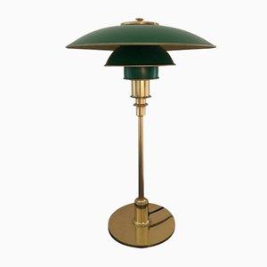 Mid-Century Tischlampe in Gold & Grün von Poul Henningsen
