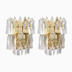 Brass & Glass Wall Lights, 1960s, Set of 2