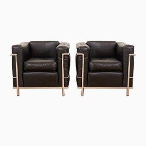 Sillones LC2 vintage de Le Corbusier & Charlotte Perriand para Cassina. Juego de 2
