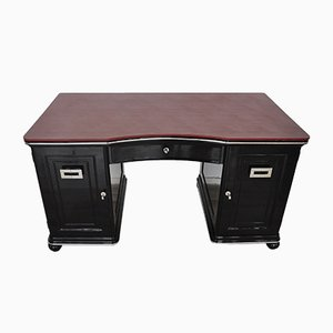Art Deco Desk with Bordeaux Leather Plate, 1930s