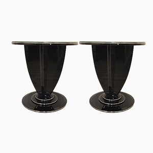 Tables d'Appoint Art Deco en Laque de Piano, 1930s, Set de 2