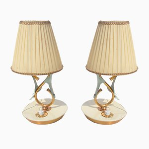 Lámparas de mesa pequeñas de Angelo Lelii para Arredoluce, años 40. Juego de 2