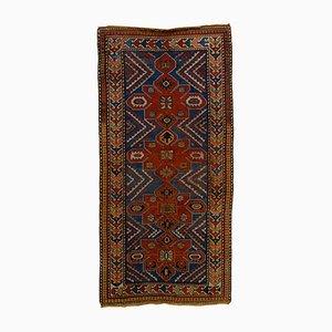 Tapis Kazak Vintage en Médaillon de Laine Naturelle Bleue et Rouge