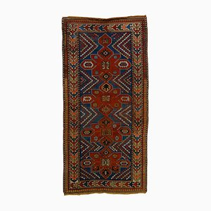 Vintage Blue & Red Natural Wool Medallion Kazak Rug