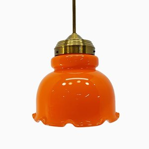 Lampada a sospensione in ottone e vetro arancione, anni '70