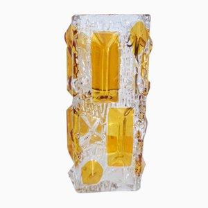 Modernistische Glasvase mit gelben Edelsteinen von Walther
