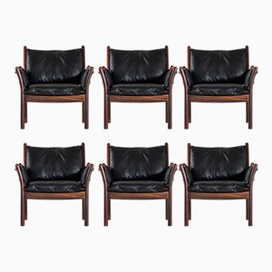 Genius Easy Chairs by Illum Wikkelsø for CFC Silkeborg, 1960s, Set of 6