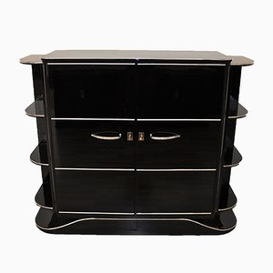 Art Deco Black High-Gloss Dry Bar, 1920s