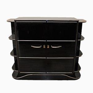 Mueble bar Art Déco de alto brillo en negro, años 20