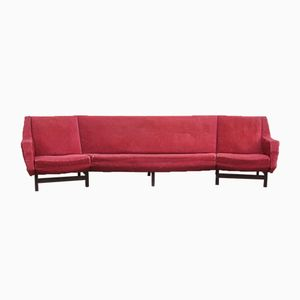 Mid-Century Modern Palisander & Samt Sofa, 1950er