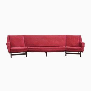 Mid-Century Rosewood & Red Velvet Sofa, 1950s