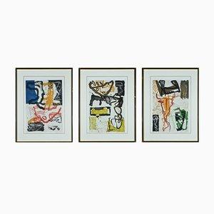 Acqueforti vintage colorate di Kjeld Ulrich, set di 3