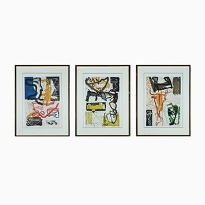 Colorful Vintage Etchings by Kjeld Ulrich, Set of 3