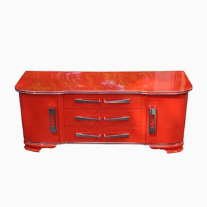 Art Deco Bright Red Chest of Drawers, 1930s
