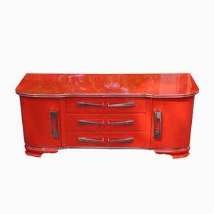 Cassettiera Art Déco color rosso acceso, anni '30