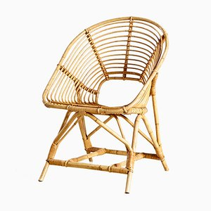 Vintage Shell Shaped Rattan Garden Chair, 1970s