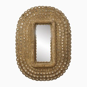 Ovaler Vintage Spiegel aus Holz