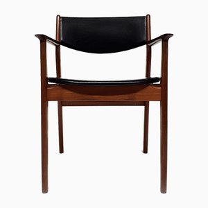Danish Teak Chair with Skai Leather, 1960s