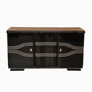 Art Deco Sideboard with Leather Top, 1940s