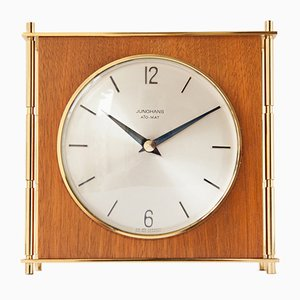 Ato-Mat Brass & Teak Mantel Clock from Junghans, 1960s